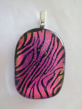 Dichroic Fused Glass Pendant  - Pink Zebra