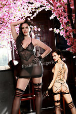 Sexy Ladies Black Strappy Back Mesh Chemise Lingerie 5 pcs Set Gift 8-10