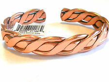 NEW SOLID COPPER Mens Braided X-tra large Adjustable Cuff Bracelet  Pain relief