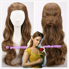 2017 new movie Beauty and The Beast Princess Belle Cosplay Wigs+a wig cap