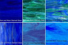 8X10 Stained Glass Sheet Pack (6 Sheets Wissmach Glass) : SHADES OF BLUE OCEAN