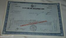 G & W Land and Development Corp. 100 Shares Apr 18, 1970 Common  Stock Nice See!