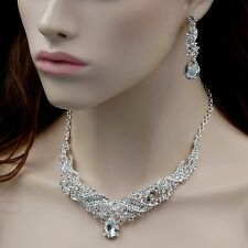 Silver Plated Clear Crystal Necklace Earrings Bridal Wedding Jewelry Set 00527