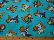 Childrens Fabric 1 1/3 Yd Garfield The Doctor on Turquoise Blue Quilting Cotton