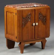 French Art Deco Carved Cherry Marble Top Nightstand, early 20th c., ... Lot 2538