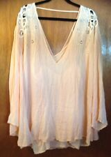 Free People Embroidered Bell Tunic Peach Dress Sz L Slip Included