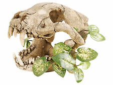 Skull with Silk Plants Aquarium Fish Cave Vivarium Terrarium Reptile Ornament