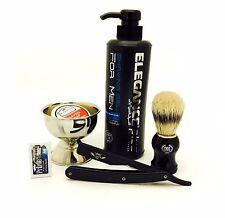 Zeepk All Black Shaving Razor, Elegance Shaving Gel, Cup, Soap Blades Barber Set