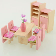 Wooden Doll Dinning House Furniture Dollhouse Miniature Set For Kids Play Toy