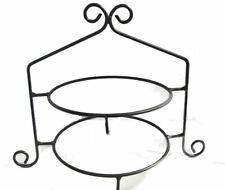Black Iron Pie Plate Holder Double Rack 2 Tier Stand USA