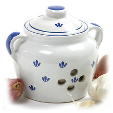 NORPRO 250 Deluxe Ceramic Garlic Keeper Blue and White