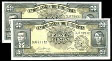 20 Pesos English Series Macapagal-Castillo 2 Consecutive Serial Numbers Banknote
