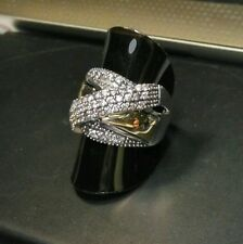 Two Tone Sterling Silver & 9k Gold Ring size W HALLMARKED SAME DAY SHIPPING