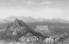 Temple of THESEUS RUINS Mars Hill ATHENS GREECE ~ Old 1835 Art Print Engraving