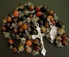 TIBET SILVER BEADS & Carnelian Agate ROSE beads ROSARY CROSS CATHOLIC NECKLACE