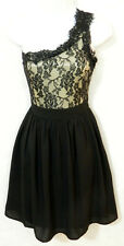 Nwt New DOE & RAE Black LACE Ruffled ONE-SHOULDER lbd Party Mini Dress S