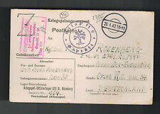 1942 Germany Jewish Officer Prisoner of War POW Camp Postcard Cover Oflag 13B 6C