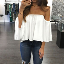 Sexy Womens Ladies Chiffon Off Shoulder Loose Casual Blouse Shirt Pullover Tops