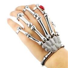 Silver Talon Skeleton Skull Hand Finger Bone Slave Bracelet Ring Gothic Punk  #