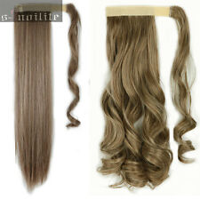 Real natural Clip In Ponytail Hair Extensions Straight Curly Wrap Pony Tail hg75