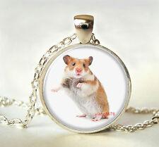 DIY Cute little mice Cabochon Tibetan silver Glass Chain Pendant Necklace F7