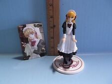 """#369 Unknown 4.5""""in Maid Figure Holding Apron Yellow Hair Comes with Card"""