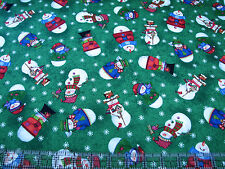 3 Yards Quilt Cotton Fabric - Quilting Treasures Snow Friends Snowmen on Green