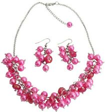 Bridesmaid Affordable Hot Pink Cluster Necklace Set Gorgeous Wedding Gift