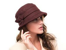 *SALE* BRAND NEW LIGHT BROWN LADIES MELTON WOOL WINTER CLOCHE STYLE HAT SUSIE