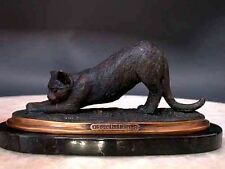 Bronze Cat Sculpture Stretching Signed Art Marble Base