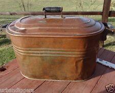 12724/ Antique COPPER WASH BOILER KETTLE w Orig Wood Rack ~ Canner Still Fire