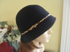 SCALA BLACK WOOL FELT CLOCHE STYLE WINTER HAT WITH  ANIMAL PRINT DETAIL