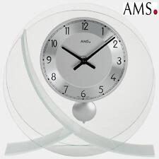 AMS 161 Tischuhr mit Pendel Quarz Rundglas-Design Stiluhr Tischpendeluhr NEU