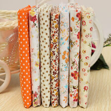 7pcs Coton Tissu Orange Assorti Patchwork Fleur Pois Coupons Joli DIY 50x50cm