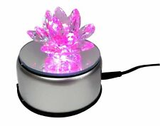 Decorative Crystal Lotus Flower With 7 Led Light Stand Turntable Rotating Base
