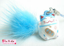 Blue HAPPINESS Maneki Neko Lucky Cat Tuft Bell Charm Strap for Mobile Phone, Bag