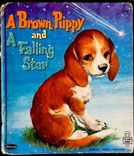 A BROWN PUPPY & A FALLING STAR ~Winship ~HTF Vintage Children's Tell-A-Tale Book