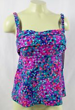 BEACH DIVA Ladies Colorful Tankini Swim Top Seperate Size 8 D Cup NWT