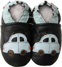 carozoo car black 18-24m soft sole leather baby shoes toddler slippers
