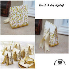 100 Gold Gift Boxes Candy Favor Box Wedding Party Ribbon Decor Bridal Shower