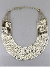 MULTI LAYERS NATURAL CREAM GLASS SEED BEAD BRASS BEAD BIB NECKLACE SET