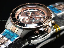 NEW Invicta Men Quarter Bezel ProDiver Swiss ISA Chrono 18KRG Stainless St Watch