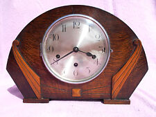 OLD GERMAN? MADE OAK CASED 8 DAY WESTMINSTER CHIME WIND UP MANTLE CLOCK +KEY GWO