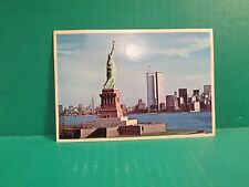 Vintage 1981 World Trade Center Twin Towers Post Card With Statue Of Liberty