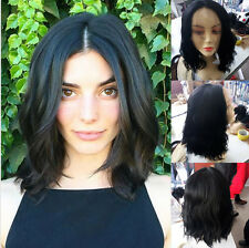 """14"""" Natural Wavy Black  Lace Front Wig Heat Resistant Synthetic Hair"""