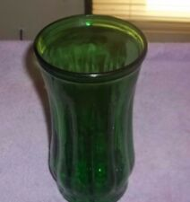 """VINTAGE  GLASS GREEN VASE 9"""" TALL X 4 1/2"""" Wide"""