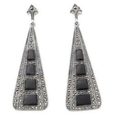 Art Deco Silver Large Black Onyx Marcasite Earrings