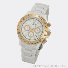 Authentic Vabene White Chronograph Rose Gold Bezel Watch CH401