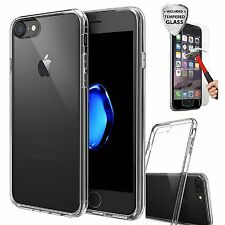 For iPhone 7 Case Silicone Clear Cover Bumper Rubber Shockproof + Tempered Glass