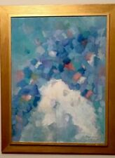 Vintage Mid Century Abstract  Expressionist Cubist Oil Painting